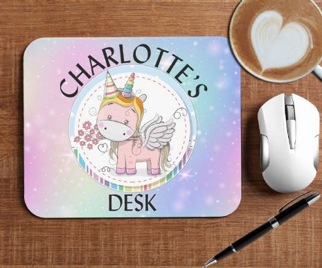 Personalised Rainbow Unicorn Mouse Pad PC Computer Mat - Any Text N2